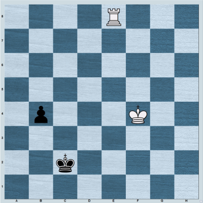 A rook vs pawn endgame showing the example of Anchoring technique