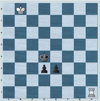 Position with rook vs connected pawns d3, e3