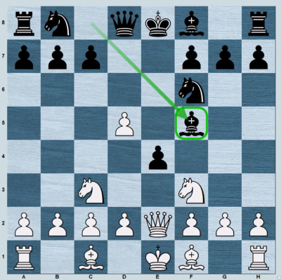 Defending the e4-pawn with ...Bf5.