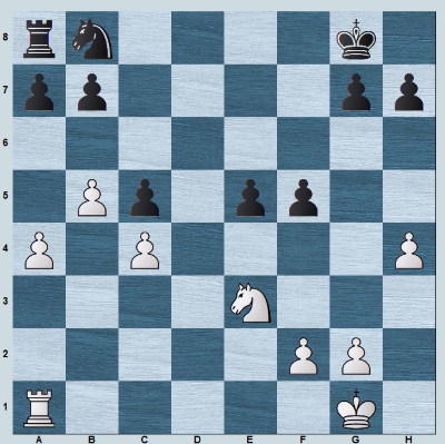 A knight and rook endgame with open d-file