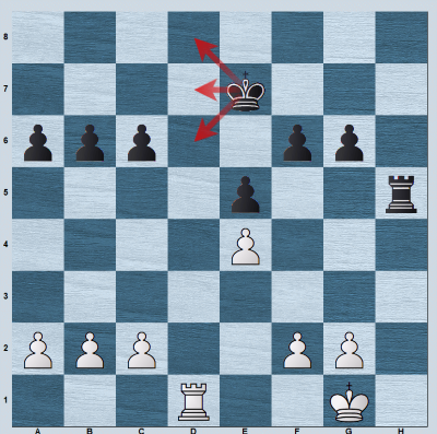 Black's king on e7 control the entry squares d6, d7, d8