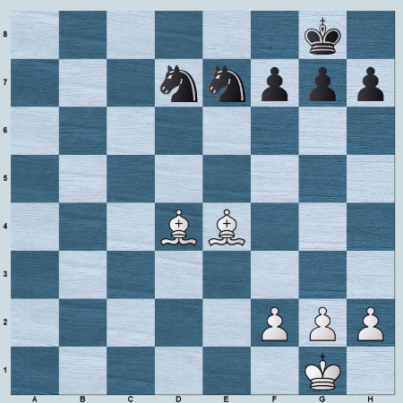 2 bishops vs 2 knights - Pawns on one side